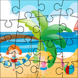 Jigsaw puzzle game with girls on the beach Stock Photo