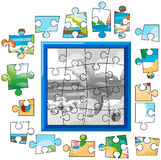 Jigsaw puzzle game with kids on the beach Stock Photo