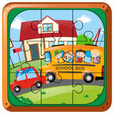 Jigsaw puzzle game with kids on bus Royalty Free Stock Images