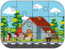 Jigsaw puzzle game with kids in neighborhood Stock Photography