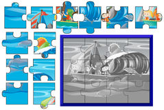 Jigsaw puzzle game with kids sailing at sea Stock Photo