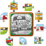 Jigsaw puzzle game with kids on school bus. Illustration Royalty Free Stock Images