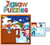Jigsaw puzzle game with kids in snow. Illustration Royalty Free Stock Photo