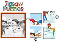 Jigsaw puzzle game with kids and snowman. Illustration Stock Photos
