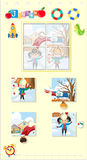 Jigsaw puzzle game with kids and snowman. Illustration Stock Images