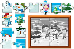 Jigsaw puzzle game with kids and snowman. Illustration Royalty Free Stock Photos