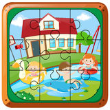 Jigsaw puzzle game with kids swimming at home Royalty Free Stock Photography
