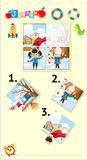 Jigsaw puzzle game with kids in winter. Illustration Stock Image