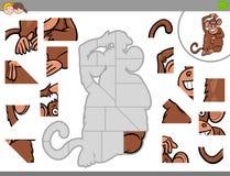 Jigsaw puzzle game with monkey animal Stock Photo
