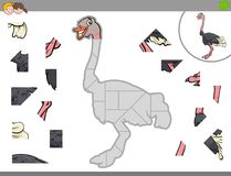 Jigsaw puzzle game with ostrich bird animal Stock Photography