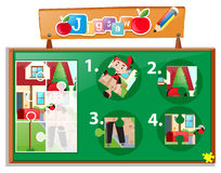 Jigsaw puzzle game with postman at home Stock Images