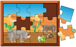 Jigsaw puzzle game with rhino on desert land Royalty Free Stock Photography