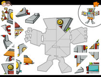 Jigsaw puzzle game with robot. Cartoon Illustration of Educational Jigsaw Puzzle Game for Children with Robot Character vector illustration