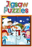 Jigsaw puzzle game template kids and snowman Royalty Free Stock Image