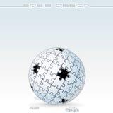 Jigsaw Puzzle Globe. White Jigsaw Puzzle Globe with Missing Piece, 3D Conceptual Art. Vector Illustration Stock Photo