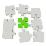 Jigsaw Puzzle. Grey puzzle with a single green main piece  on white background. Computer generated image with clipping path Stock Images