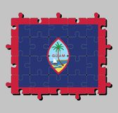 Jigsaw puzzle of Guam flag in dark blue background with a thin red border and the Seal of Guam. vector illustration