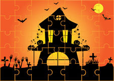 Jigsaw puzzle halloween night background, illustrations Stock Photo