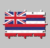 Jigsaw puzzle of Hawaii flag in eight alternating horizontal stripes of white red and blue with a Union flag. royalty free illustration