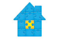 Jigsaw Puzzle House. 14 pieces. Jigsaw Puzzle Pattern. House of 14 pieces. Main elements are on separate layers. Easy to change or remove Stock Images