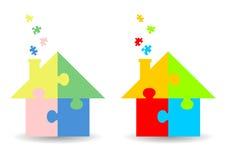 Jigsaw puzzle houses royalty free illustration