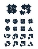 Jigsaw puzzle icons collection. Complete and incomplete, vector illustration, editable for your design Stock Photos