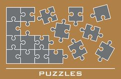 Jigsaw puzzle icons Royalty Free Stock Images