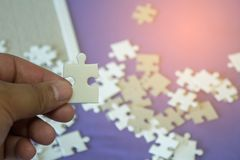 Jigsaw puzzle Incomplete puzzlesand background royalty free stock photography