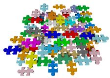 Jigsaw puzzle isolated. Jigsaw puzzle with multi colors isolated on white vector illustration