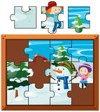 Jigsaw puzzle with kids playing snow. Illustration Royalty Free Stock Image