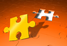 Jigsaw puzzle last part found. Attaching the last piece to 3D jigsaw puzzle Stock Illustration
