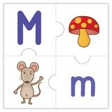 The jigsaw puzzle match words -M. The jigsaw puzzle match words for kid to learn and play. funny, Game vector illustration
