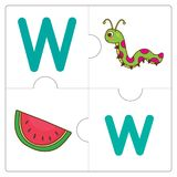 The jigsaw puzzle match words -W. The jigsaw puzzle match words for kid to learn and play. funny, Game Stock Image