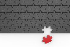 Jigsaw puzzle with missing piece. 3D illustrating. Stock Image