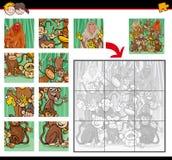 Jigsaw puzzle with monkeys Stock Photos