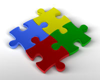 Jigsaw Puzzle. Multi colored jigsaw puzzle pieces joined together. 3D rendered reflective on white background Stock Images