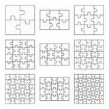 Jigsaw puzzle nine  flat blank templates set Stock Images