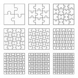 Jigsaw puzzle nine vector flat blank templates set Stock Image