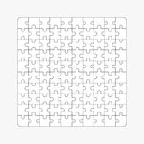 Jigsaw puzzle, one hundred blank shapes Royalty Free Stock Images