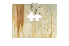 Jigsaw puzzle with one piece missing Stock Photo