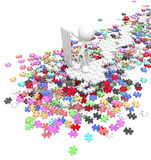 Jigsaw Puzzle Overseer. Figure standing over jigsaw pile 3d, over white, isolated Royalty Free Stock Images