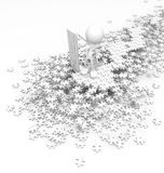 Jigsaw Puzzle Overseer, White. Figure standing over jigsaw pile 3d, over white, isolated Stock Photography