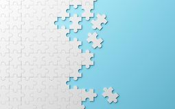 Jigsaw puzzle, pattern texture separated on blue background. 3d. Illustration Royalty Free Stock Image