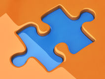 Jigsaw puzzle piece. 3d illustration - jigsaw puzzle piece Stock Photo