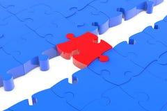 Jigsaw puzzle piece as bridge. Jigsaw puzzle piece as connection bridge between blue parts Stock Photography
