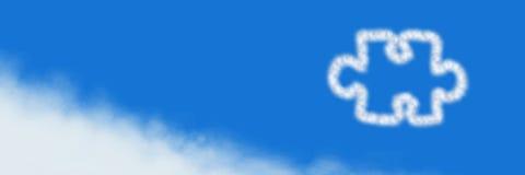 Jigsaw puzzle piece Cloud Icon with sky. Digital composite of Jigsaw puzzle piece Cloud Icon with sky Stock Photos