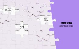 Jigsaw puzzle piece glowing white glow piece missing from components, Abstract concept business and 5g technology network ,with. Purple background,copy space stock photography