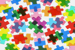 Jigsaw Puzzle Pieces. Close Up of Jigsaw Puzzle Pieces Stock Photos