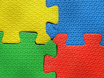 Jigsaw puzzle pieces. Toy jigsaw puzzle pieces colorfull royalty free stock photos
