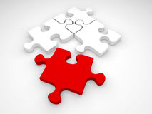 Jigsaw puzzle pieces. One red and three white jigsaw puzzle pieces on a white background stock illustration